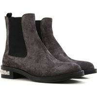 Miu Miu Chelsea Boots for Women On Sale in Outlet, Asphalt Grey, suede, 2017, 3.5 4.5