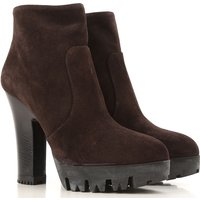 Miu Miu Boots for Women, Booties On Sale in Outlet, Dark Brown, Suede leather, 2019, 4 7.5