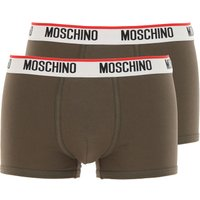 Moschino Boxer Briefs for Men, Boxers On Sale, 2 Pack, Dark Olive Green, Cotton, 2019, XS (EU 2) S (