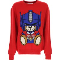 Moschino Sweater for Women Jumper, Transformers, Red, Virgin wool, 2019, 6 8