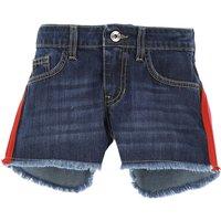 MSGM Pantalones Cortos para Niña Baratos en Rebajas Outlet, azul jean, Algodon, 2019, 10Y 12Y 8Y