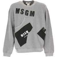 MSGM Sweatshirt for Men On Sale in Outlet, Grey, Cotton, 2017, M S