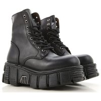 New Rock Boots for Women, Booties, Black, Leather, 2019, 3.5 4.5 5.5 7.5