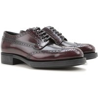 Prada Oxford Lace up Shoes for Women On Sale in Outlet, granade, Leather, 2017, 3.5 5.5