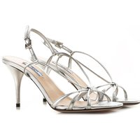 Prada Sandals for Women On Sale in Outlet, Silver, Leather, 2019, 2.5 4.5 7.5