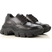 Prada Lace Up Shoes for Men Oxfords, Derbies and Brogues On Sale, Black, Leather, 2019, 8.5 9