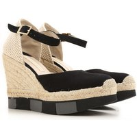 Paloma Barcelo Wedges for Women On Sale in Outlet, Black, Suede leather, 2017, 5.5 7.5