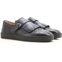 Santoni Driver Loafer Shoes for Men On Sale, Shaded Dark Night blue, Leather, 2019, 10 8.5