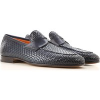 Santoni Loafers for Men, navy, Leather, 2019, 7 8