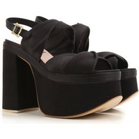 Vivienne Westwood Wedges for Women On Sale, Black, Velvet, 2017, 6.5