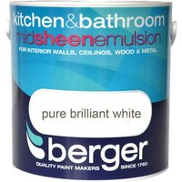 Berger Kitchen & Bathroom Emulsion - Brilliant White, 2.5L