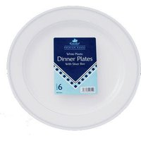 Essential Housewares Essential Dinner Plate with Silver Rim 6 Pack
