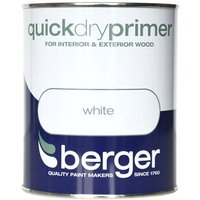 Berger Quick Dry Wood Primer - White, 750ml