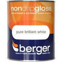Berger Non-Drip Gloss Paint - White, 750ml