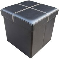 Packmate Faux Leather Single Seat Ottoman with Storage - Black