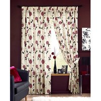 Rosemont Red Pencil Pleated Lined Curtain W 66-Inch (167.64cm) x L 108-Inch (274.32cm)