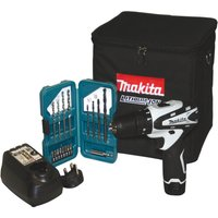 Makita 10.8v Li-ion Combi Drill And 17pc Accessory Kit