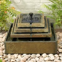 Smart Solar Slate Tiered Fountain