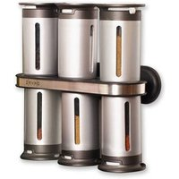 Zevro Zero Gravity 6 Canister Magnetic Wall Mount Spice Stand - Grey