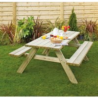 Grange Fencing Oblong Wooden Picnic Table With Seats