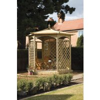 Grange Fencing Budleigh Hexagon Wooden Gazebo with Mirror and Glass Side Panels
