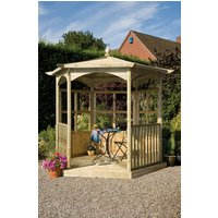 Grange Fencing Budleigh Hexagon Wooden Gazebo with Glass Panels and Balustrades