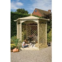 Grange Fencing Budleigh Hexagon Wooden Gazebo with Mirror and Lattice Panels