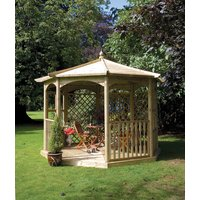 Grange Fencing Regis Octagon Wooden Gazebo with Glass Panels, Mirror and Balustrade
