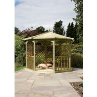 Grange Fencing Regis Octagon Wooden Gazebo with 4 Lattice Sides, Mirror and Balustrades