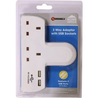 Connect-It Connect It T-Shape 2-Way Adaptor with 2 USB Sockets