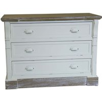 Charles Bentley Shabby Chic Vintage French Style Chest of 3 Drawers - White