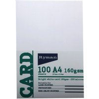 Ryman A4 White Card - 100 Pack