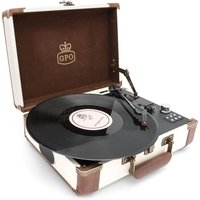GPO Ambassador Attaché 3-Speed Bluetooth Record Player - Cream and Tan