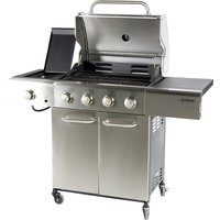 Outback Meteor 4-Burner Hybrid Gas and Charcoal BBQ with Multi-Cook Plate System - Stainless Steel