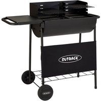Outback Half Drum Charcoal BBQ with Twin Grill - Black