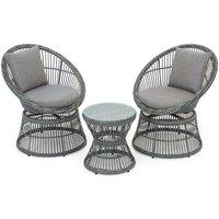 Monaco 2-Seater Rattan Swivel Patio Furniture Set - Grey
