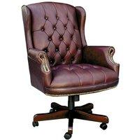 Teknik Chairman Leather Faced Swivel Chair - Burgundy