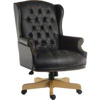 Teknik Chairman Leather Faced Swivel Chair - Black