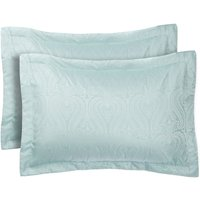 Catherine Lansfield Ornate Jacquard Pillow Shams - Duck Egg
