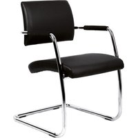 Dams Bruges Black Soft Leather Cantilever Chrome Chair