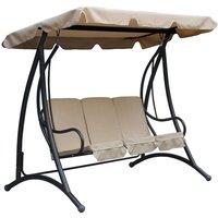 Charles Bentley 3-Seater Premium Garden Swing Seat - Beige