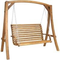 Charles Bentley 3-Seater Wooden Garden Swing Seat