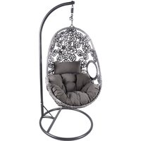 Charles Bentley Floral Rattan Swing Egg Chair - Grey