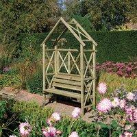 Rowlinson Rustic Wooden Garden Seat Arbour