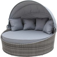 Charles Bentley Large Rattan Day Bed With Sun Canopy - Grey