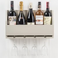 Lewiston Wooden Wine Rack for Bottles and Glasses - French Grey