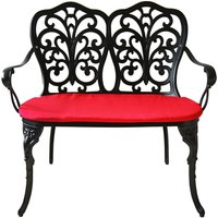 Charles Bentley Cast-Aluminium Bench with Red Cushions - Black