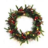 Robert Dyas Pre-Lit Rattan Berry & Cone Wreath - Battery Operated