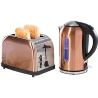 Daewoo 1.7L Cordless Kettle & 2-Slice Toaster Set - Copper Effect