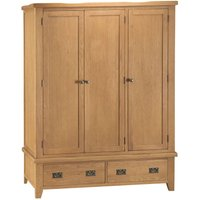 Stockbridge 3-Door 2-Drawer Oak Wardrobe